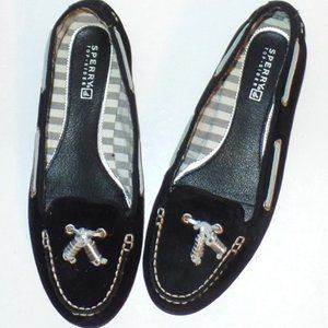 Sperry Black Silver Westwood Suede Flats Loafers 7